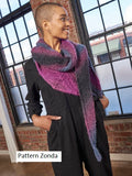 Berroco Zondo Shawl, Knitted in Berroco Aero Yarn.