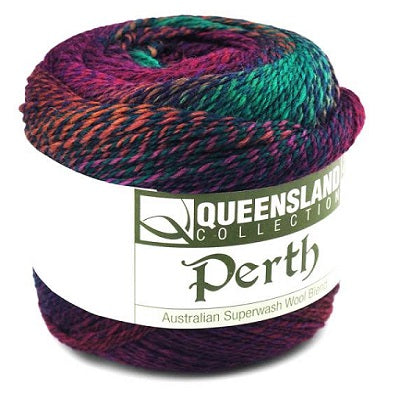 Perth Yarn from Queensland. A long color Changing fingering yarn in superwash wool and nylon.