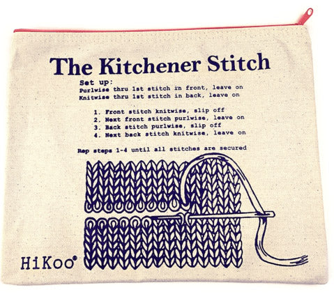 Kitchener Project Bag. Instructions for Kitchener Stitch printed on zippered bag.