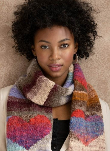 Heart Scarf Kit from Noro Yarns. Knitted in Kureyon, 100% wool in long color changers.
