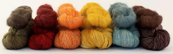 Tosh Merino Light from Madelinetosh. A fingering weight collection dyed to work with Silk Cloud.