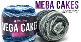 Mega Cakes from Plymouth Yarn. A plied blend of Acrylic and Wool. Spray dyed to create exciting long color changing yarn.