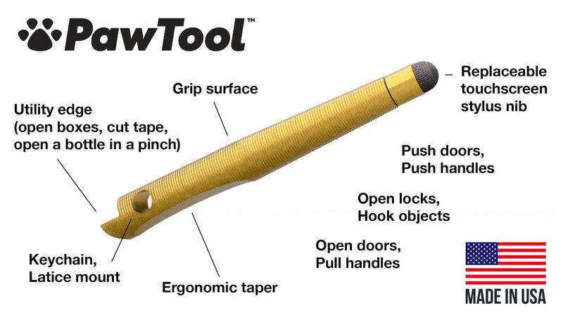 PawTool Jr. Solid Brass Stylus | PawTool | Made in the USA