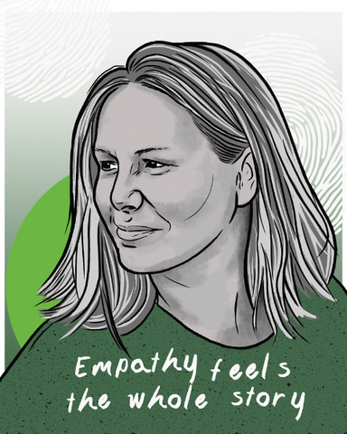"""Image of Amy, with a line that reads, """"Empathy feels the whole story."""""""