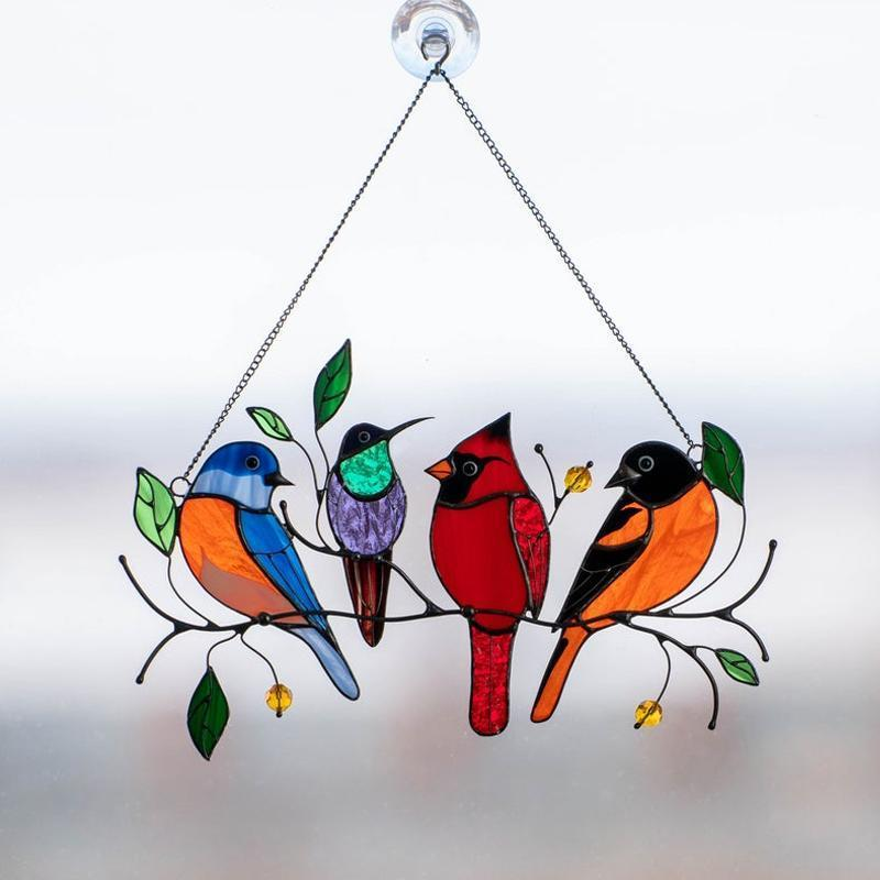 Megachooses™Birds Stained Glass Window Hangings 🎁Mother's Day promotion🐦