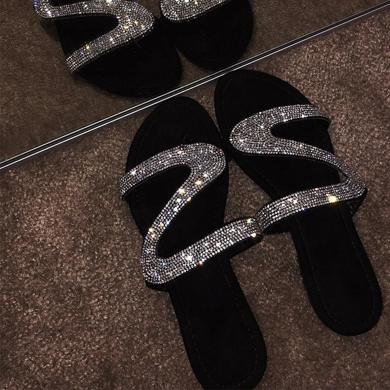 Women Shiny Slippers Casual Embellished Toe Post Shoes