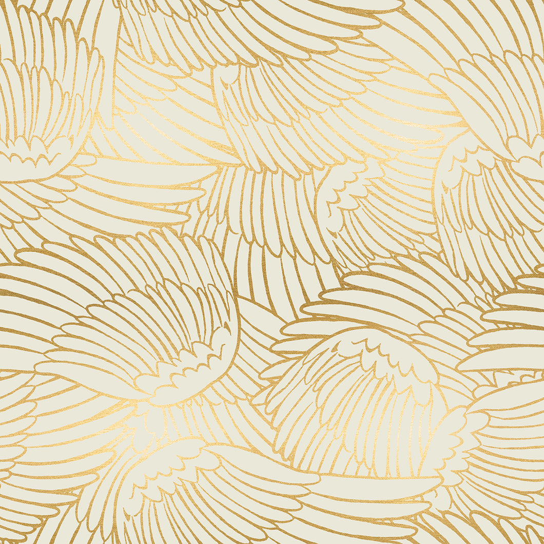 reversible face mask - cream feather print (with gold accents)