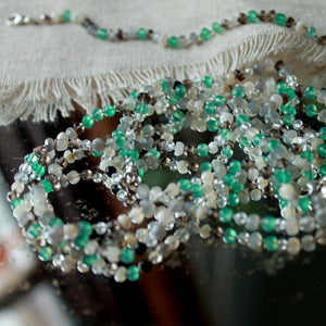 Rosary beaded Necklace and Bracelet- green onyx