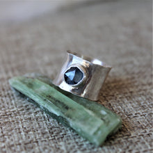 Load image into Gallery viewer, Sapphire Wide Silver Band Ring