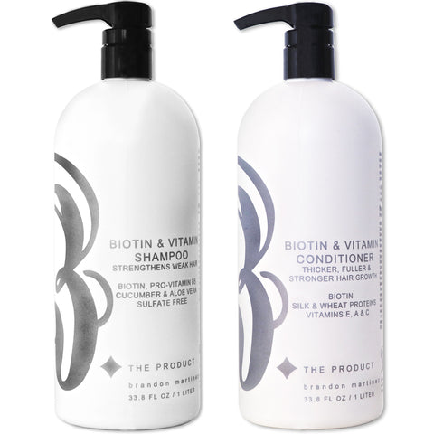 Biotin Hair Growth Shampoo And Conditioner Set, Sulfate Free With Aloe Vera & Cucumber 33.8oz