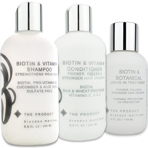 Biotin Vitamin Shampoo, Conditioner & Serum Set, Complete Hair Growth Kit For Thinning Hair