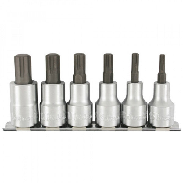 "Koken 1/2"" Dr Ribe CV Bit Socket Set On Rail - 6pc"