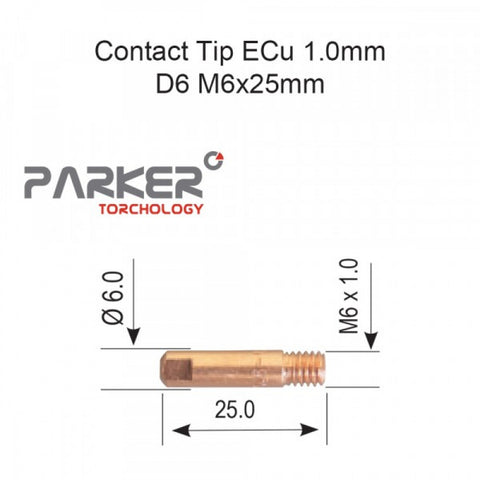 Contact Tip ECu 1.0mm D6 M6x25mm Pack Of 10