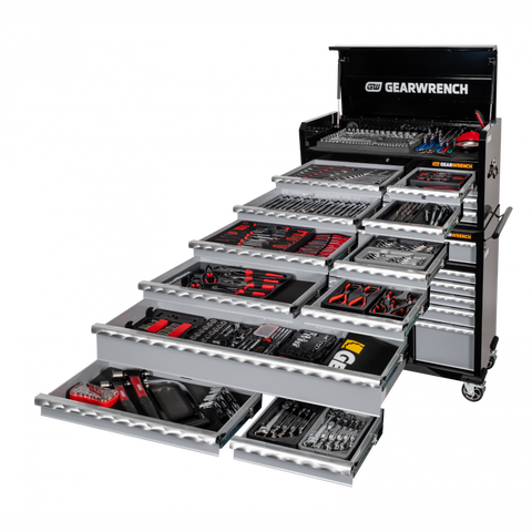 GearWrench  - 8 Drawer Chest + 11 Drawer Roller Cabinet + 501Pc Tool Set