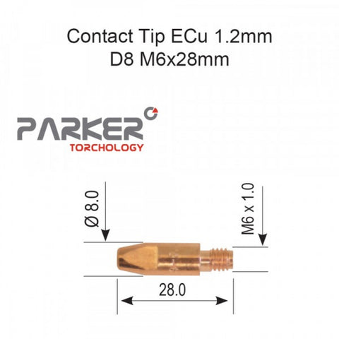 Contact Tip ECu 1.2mm D8 M6 x 28mm Pack Of 10