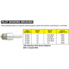 "3/16"" #10 Pilot Bonding Brush .005"" S/ Steel"