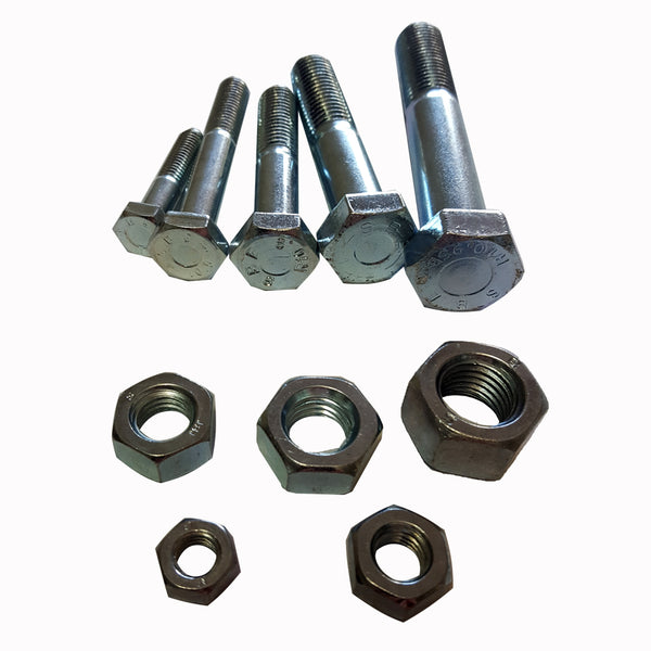 M6 x 60 Metric 25pc Hex Bolt & Nut ZP Class 10.9