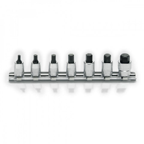 "Koken 1/4""Dr Hex Bit Socket Set On Rail - 7pc"