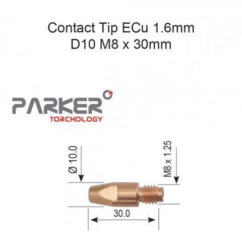 Contact Tip ECu 1.6mm D10 M8 x 30mm Pack Of 10