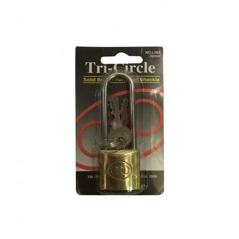 L262 Brass Padlock Long Shackle 25mm 1 Per Card