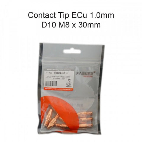 Contact Tip ECu 1.0mm D10 M8 x 30mm Pack Of 10