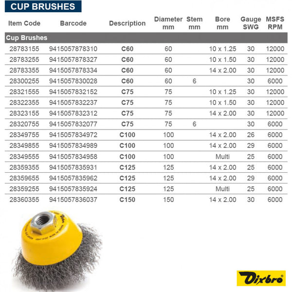 75mm Multithread Cup Brush 30 Gauge