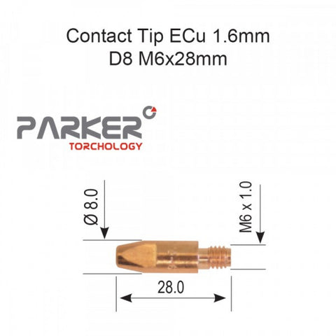 Contact Tip ECu 1.6mm D8 M6 x 28mm Pack Of 10