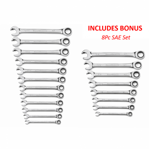 GearWrench 12pc Open End Ratcheting Wrench Metric Set With BONUS 8Pc SAE Set