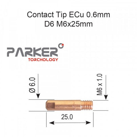 Contact Tip ECu 0.6mm D6 M6x25mm Pack Of 10