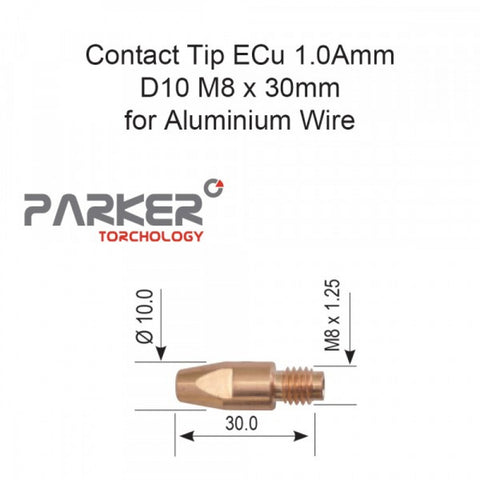Contact Tip ECu 1.0Amm D10 M8 x 30mm (Alum) Pkt 10
