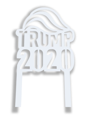 White Trump 2020 Metal Yard Sign