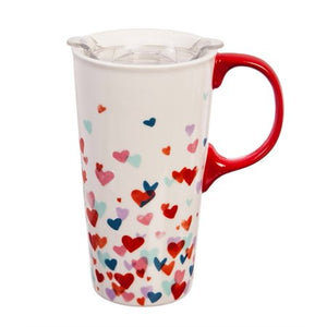 Ceramic Travel Mug - Valentine Hearts