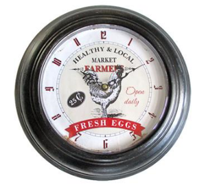 Fresh Eggs Clock - Black