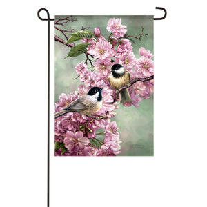 Garden Suede Flag - Chickadees And Cherry Blossoms
