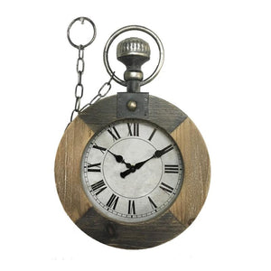 Pocket Watch Style Wall Clock - Wood & Metal