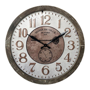 Round Paris Wall Clock - Brown