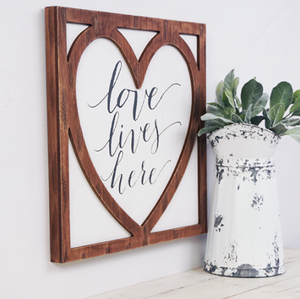 Love Lives Heres Wood Sign - Wall Art
