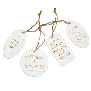 Ceramic Hangtags - Ivory and Gold