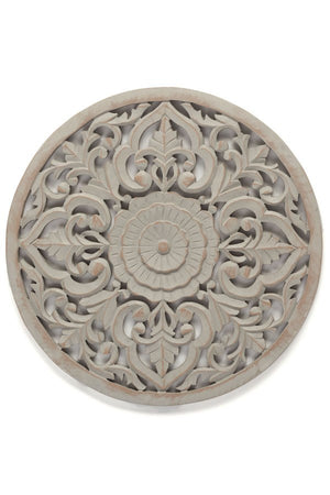 Round Plate Craved - Grey