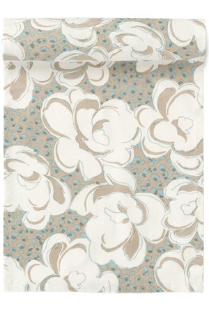 Floral Table Runner - Beige and Blue