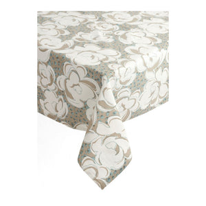 Floral Tablecloth - Beige and Blue