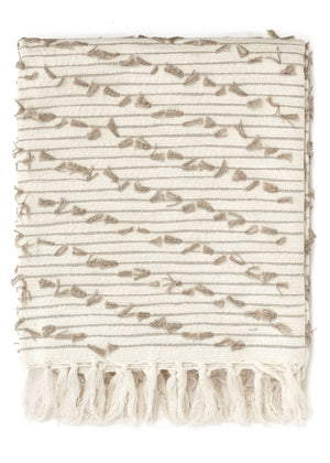 France Woven and Cotton Throw - White and Taupe
