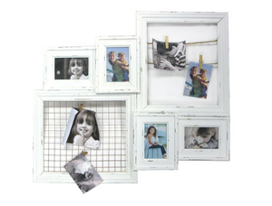 White Distressed Hanging Collage Frame - Antique White