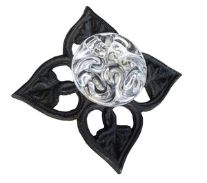 Brown Cast Iron Glass Drawer Pull - Black