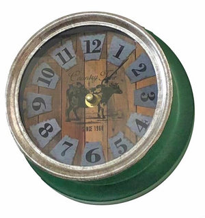 Cow Clock Metal - Green