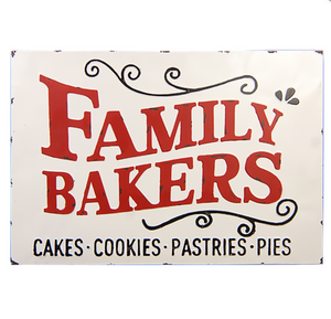 Embossed Metal Sign - Family Bakers