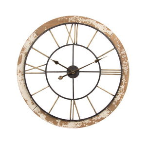 Wood & Metal Clock - Natural