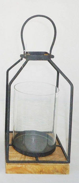 Small Glass and Metal Lantern - Black