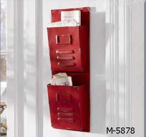 Rustic 2 Slot Iron Organizer - Red