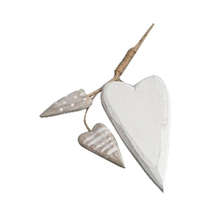 Decorative Wooden Hanging Hearts - White